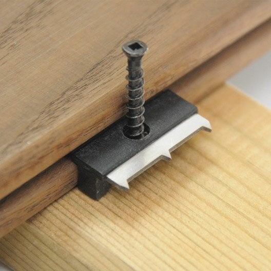 Lot de 90 clips vis pour lames de terrasse rainur es l x l m le - Clips pour terrasse composite ...