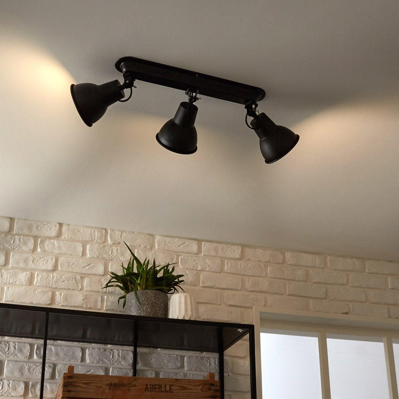 rampe 3 spots industriel mezzo 3 xe14 noir inspire. Black Bedroom Furniture Sets. Home Design Ideas