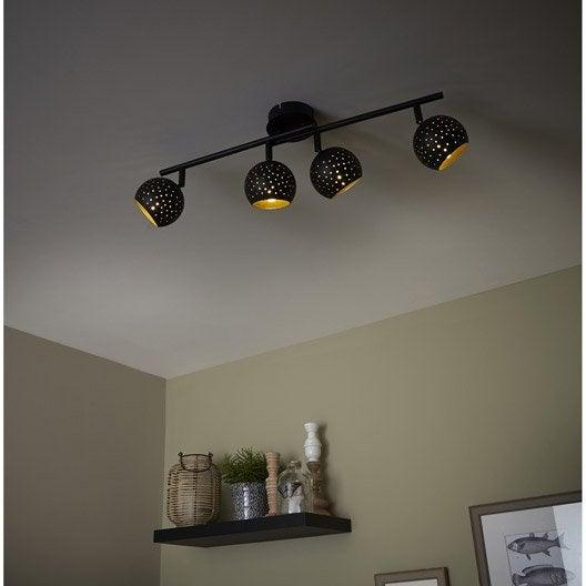 rampe 4 spots industriel hydro 4 xg9 noir inspire leroy merlin. Black Bedroom Furniture Sets. Home Design Ideas