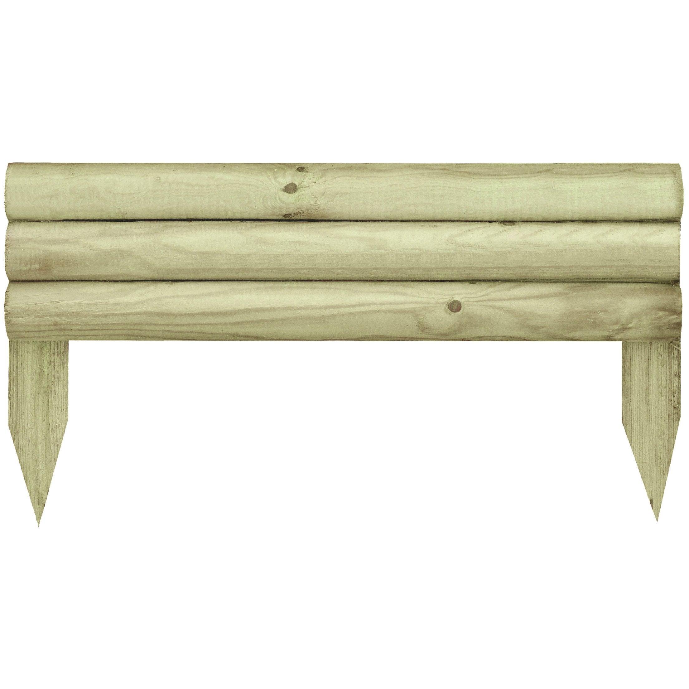 Bordure à planter Minitraverse bois naturel, H.30 x L.55 cm