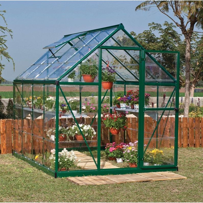 Serre de jardin verte HARMONY 4.5 m², aluminium et polycarbonate ...