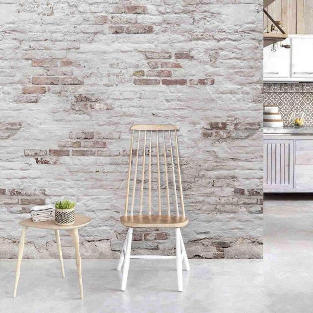 Une cuisine avec un mur en imitation briques leroy merlin - Papier peint chambre fille leroy merlin ...