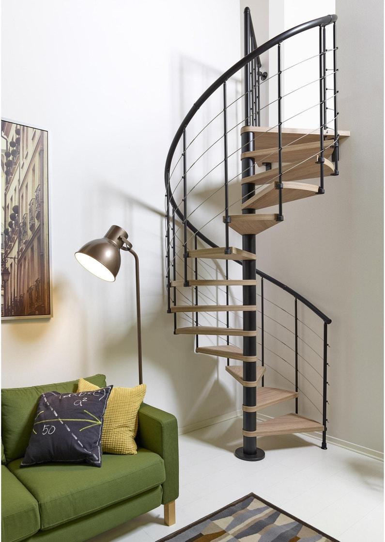 Escalier Bois Metal Noir escalier colimaçon rond révers. acier noir ring tube 12 mar. orme clair,  ⌀118 cm