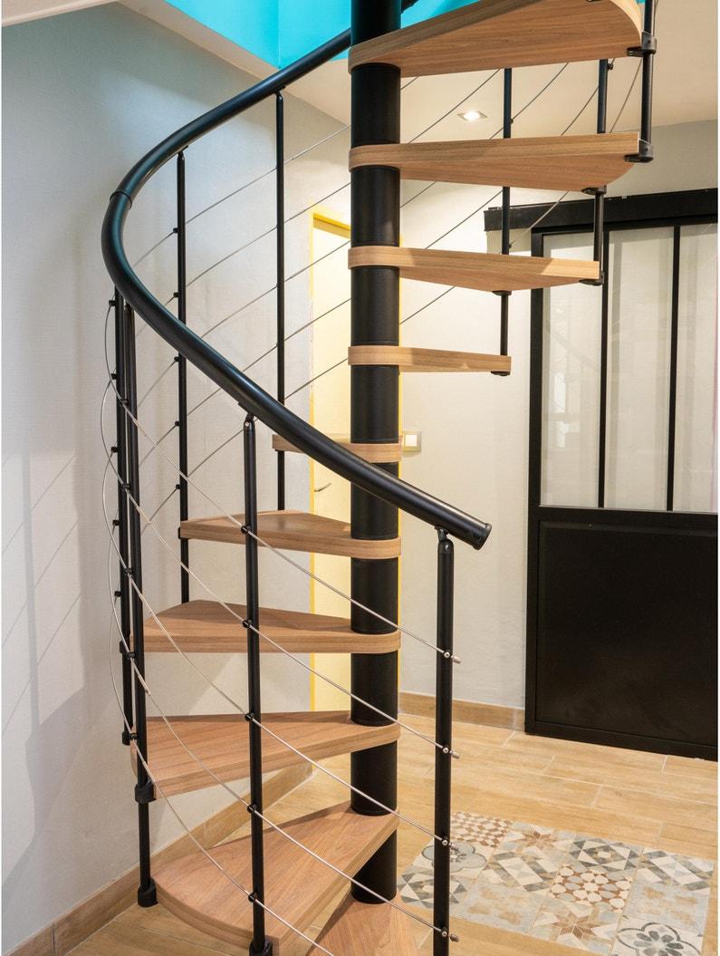 Escalier Colimaçon Rond Révers Acier Noir Ring Tube 12 Mar Orme Clair 138 Cm
