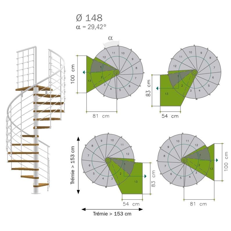 Escalier Colimaçon Rond Révers Acier Noir Ring Tube 12 Mar Orme Clair 148 Cm