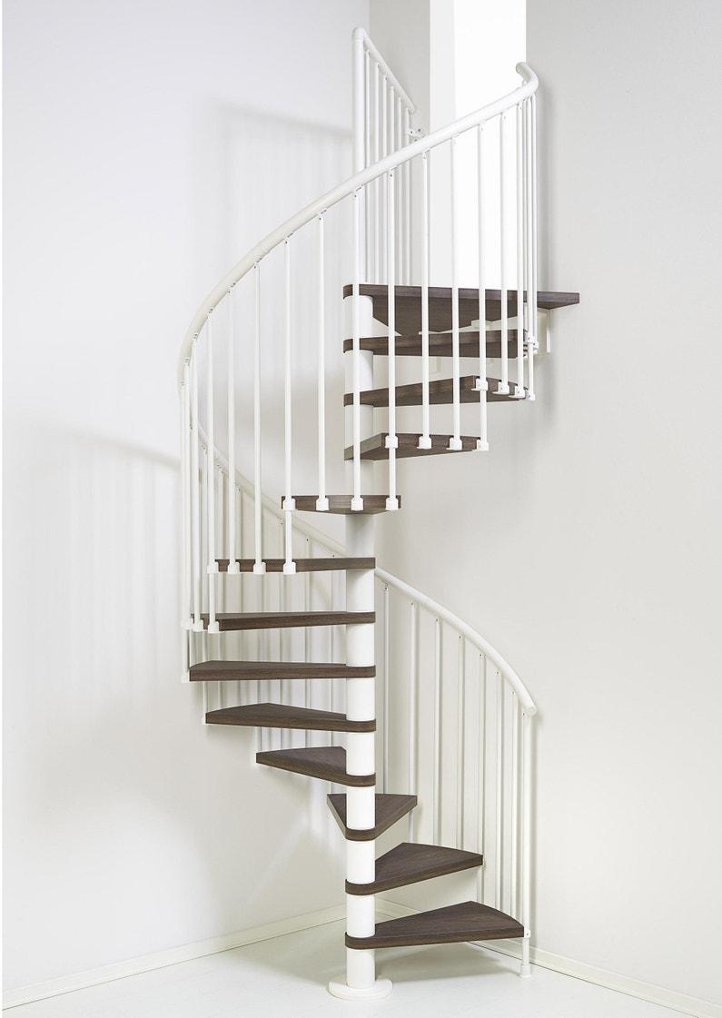 Barriere Escalier En Colimaçon escalier colimaçon rond révers. acier blanc ring 12 marches orme foncé,  ⌀158 cm