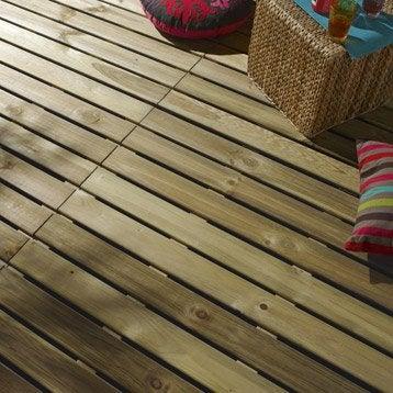 Dalle bois pin, L.100 x l.100 cm x Ep.28 mm
