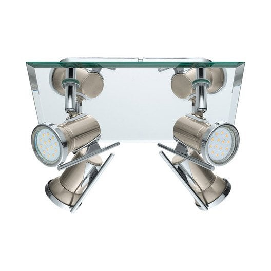 Plafonnier 4 spots fixer tamara1 eglo led 4 x 2 5 w for Rampe led salle de bain