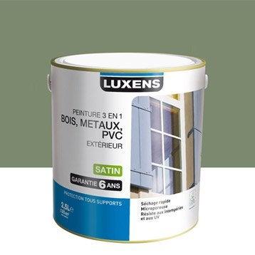 peinture bois m taux et pvc ext rieur 3en1 luxens satin vert olivier 2 5l. Black Bedroom Furniture Sets. Home Design Ideas