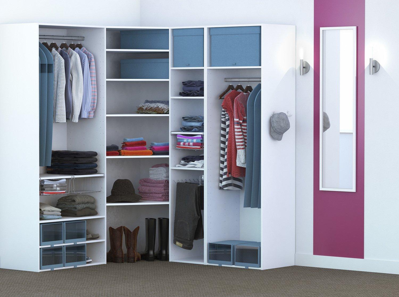 un dressing en angle pour optimiser le rangement et l 39 espace leroy merlin. Black Bedroom Furniture Sets. Home Design Ideas