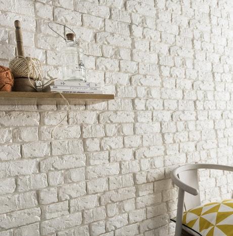 Un style naturel avec ces plaquettes de parement briques blanches