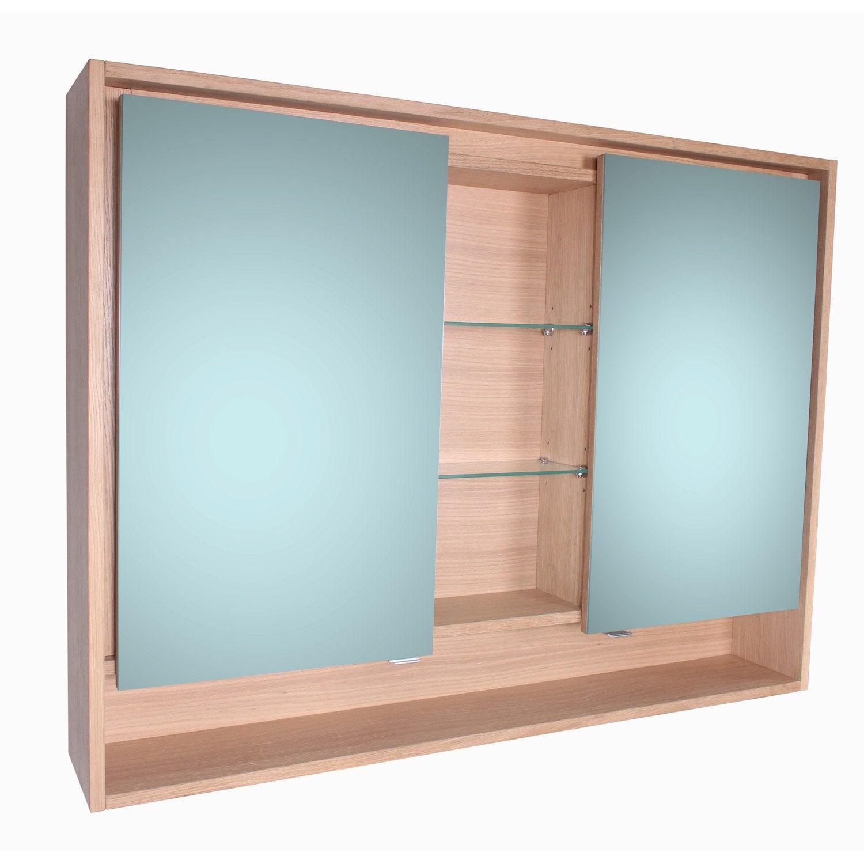 armoire de toilette lumineuse l 120 cm imitation ch ne. Black Bedroom Furniture Sets. Home Design Ideas