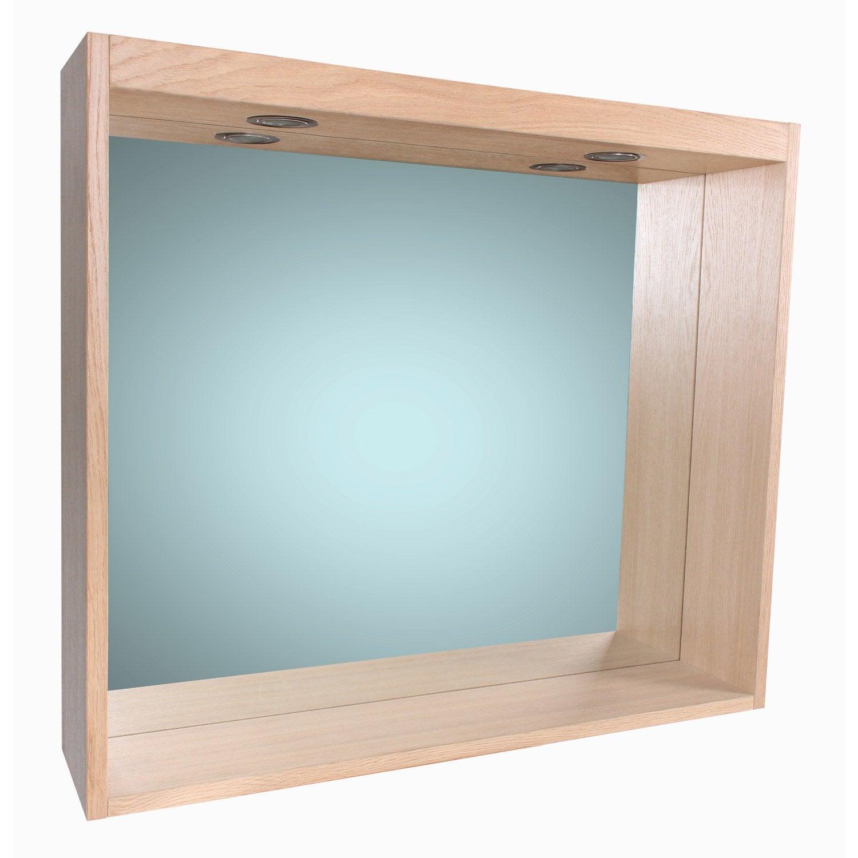 eclairage glace salle de bain Miroir avec éclairage intégré l. 80 cm, SENSEA Storm