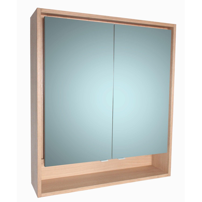 Armoire de toilette lumineuse l. 80 cm imitation chêne, SENSEA Storm ...