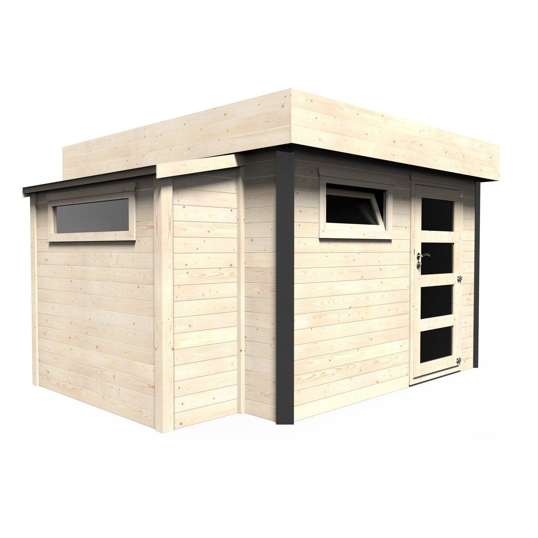 abri de jardin bois atelier bow-window ep.28 mm, 10.23 m² | leroy merlin