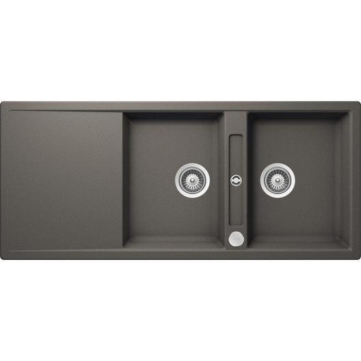 evier encastrer quartz et r sine gris mono 2 bacs avec. Black Bedroom Furniture Sets. Home Design Ideas