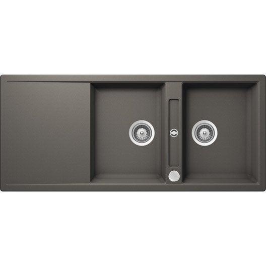 evier encastrer quartz et r sine gris mono 2 bacs avec gouttoir leroy merlin. Black Bedroom Furniture Sets. Home Design Ideas