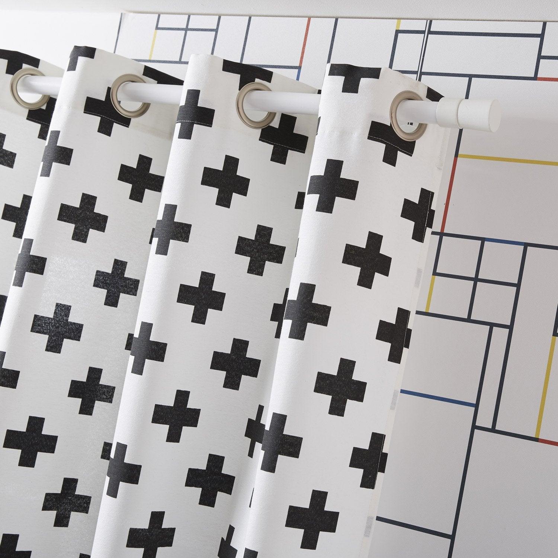 Rideau tamisant, Croix, blanc/noir, l.135 x H.250 cm | Leroy Merlin