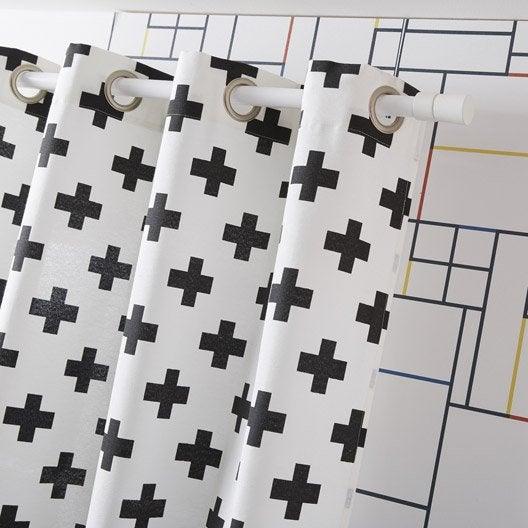 rideau tamisant petite hauteur croix blanc noir x cm leroy merlin. Black Bedroom Furniture Sets. Home Design Ideas