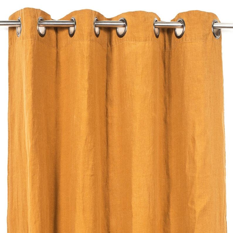 Rideau Tamisant Grande Hauteur Solenzara Abricot L 140 X H 280 Cm