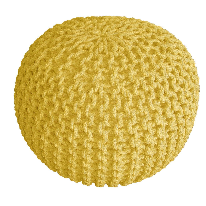pouf tricot jaune x cm leroy merlin. Black Bedroom Furniture Sets. Home Design Ideas