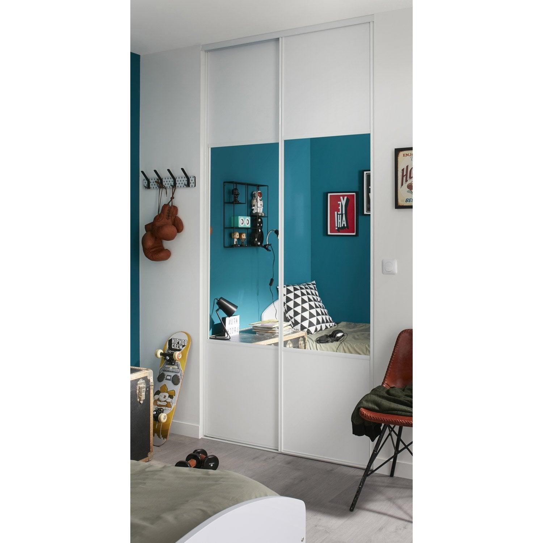 Lot De 2 Portes De Placard Coulissante Frêne Blanc / Miroir L.60 X H