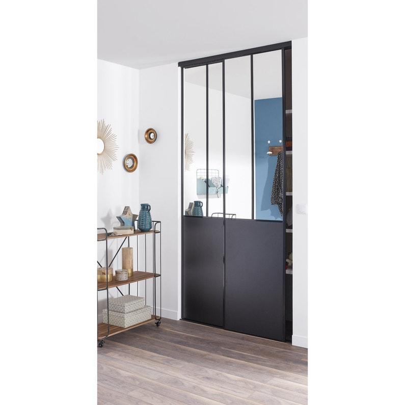 lot de 2 portes de placard coulissante miroir / noir l.120 x h.250