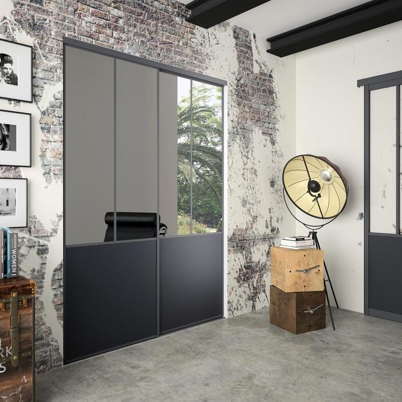 130356cbf85 Lot de 2 portes de placard coulissante miroir   noir l.120 x H.250 ...