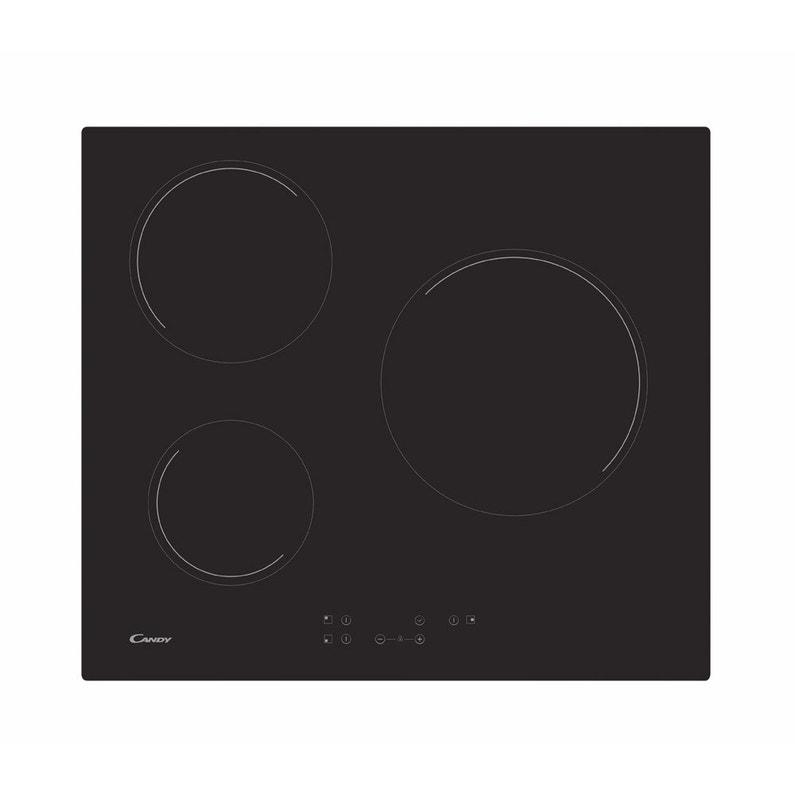 grande vente 8dee3 87269 Plaque vitrocéramique 3 foyers, noire, CANDY CH63CT/1