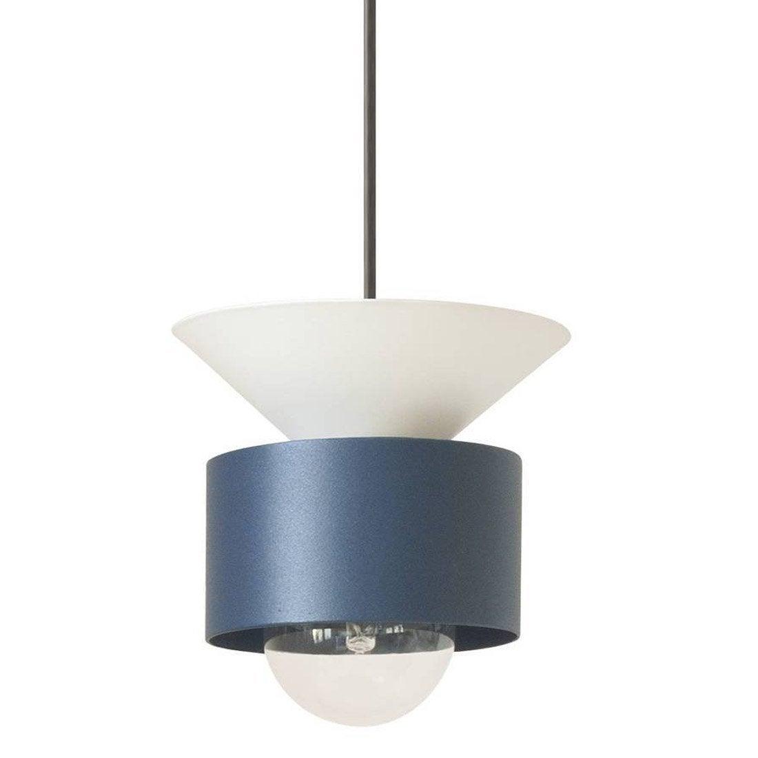 Suspension, design métal bleu et blanc DESIGNER BOX Celeste 1 lumière(s) D.16 cm