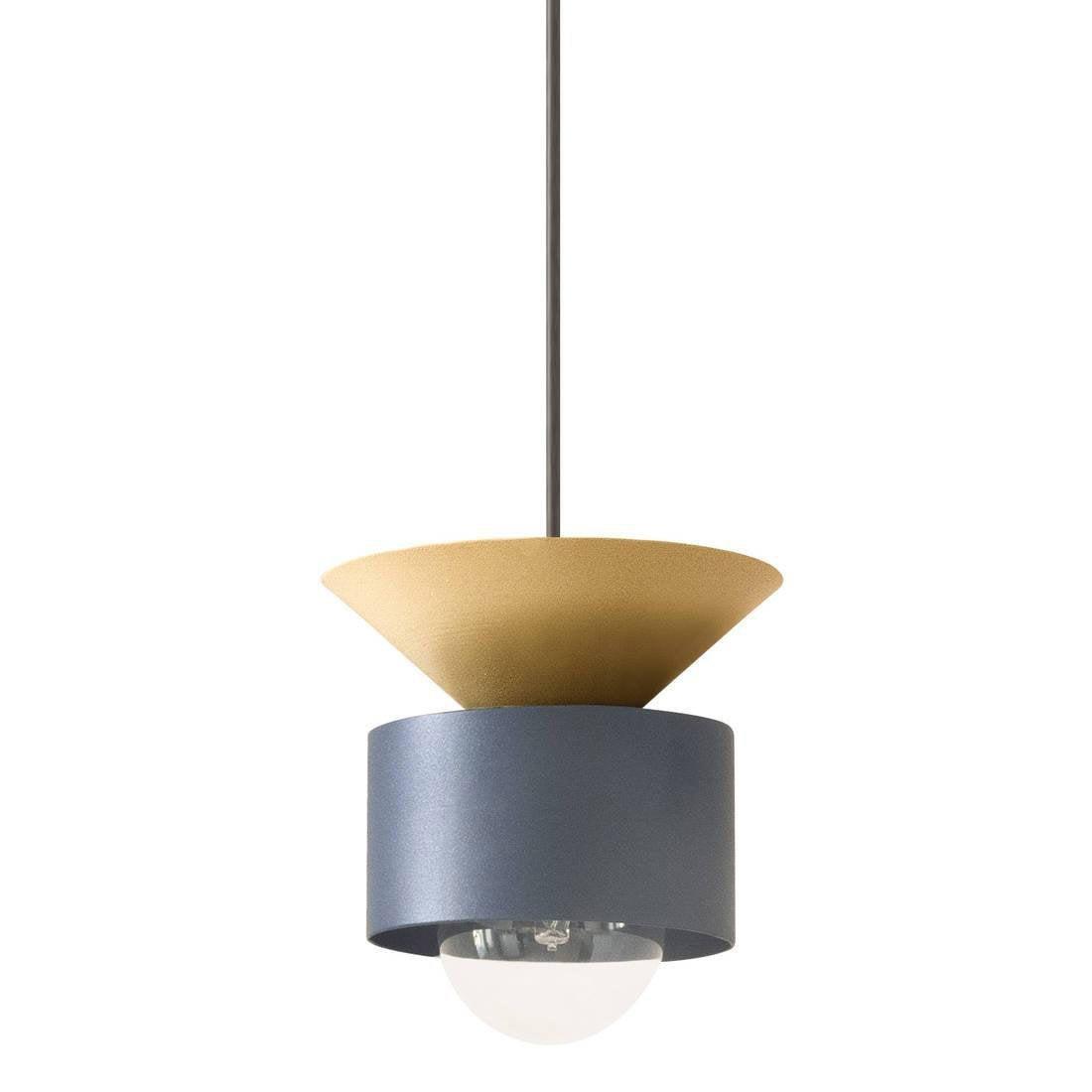 Suspension, design métal bleu et doré DESIGNER BOX CELESTE 1 lumière(s) D.16 cm