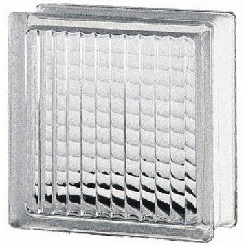 Brique de verre, transparent quadrillé brillant