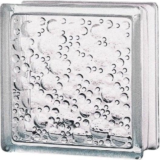 Brique de verre standard bull e brillante transparente for Brique de verre exterieur