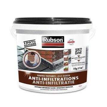 Revêtement d'étanchéité Stop fuite toiture plate et inclinée, RUBSON noir 1 kg
