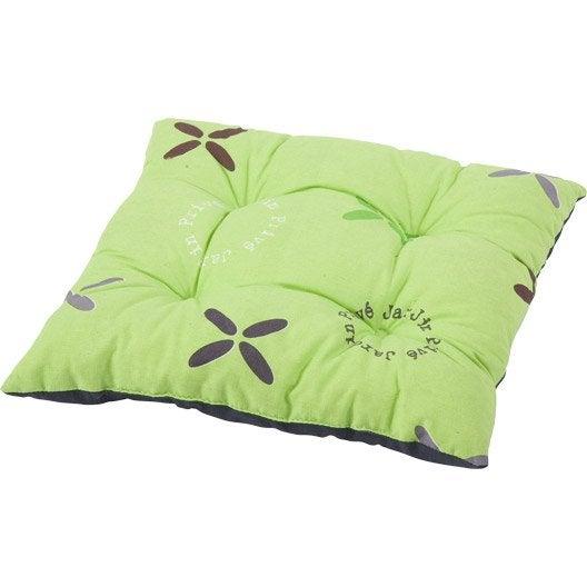 coussin d 39 assise de chaise ou de fauteuil jardin prive lea vert imprim vert leroy merlin. Black Bedroom Furniture Sets. Home Design Ideas