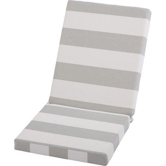 Coussin d 39 assise et dossier chaise ou fauteuil blanc for Coussin d assise exterieur