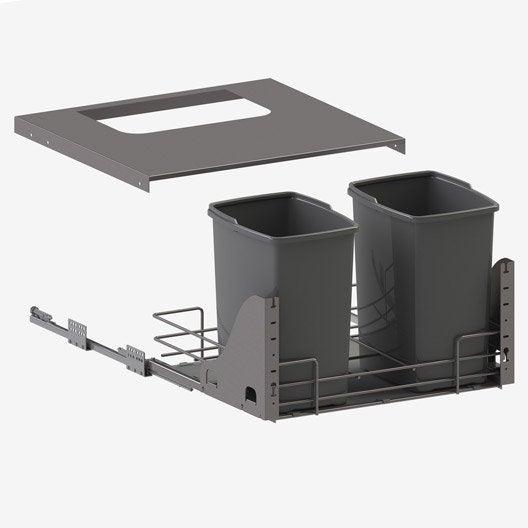 Rangement coulissant sous évier 2 poubelles, 60cm, DELINIA | Leroy