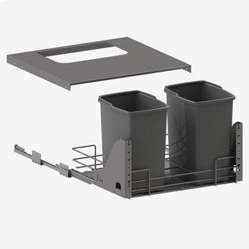 Rangement coulissant sous-évier 2 poubelles pour meuble l.60 cm, DELINIA