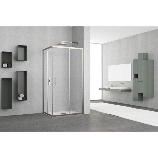porte de douche coulissante angle rectangle x cm chrom elyt leroy merlin. Black Bedroom Furniture Sets. Home Design Ideas