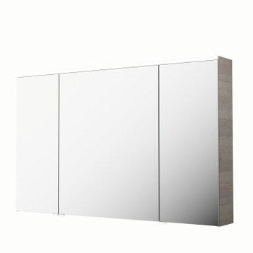 armoire de toilette lumineuse l 120 cm imitation chne gris sensea neo - Armoire Miroir Salle De Bain