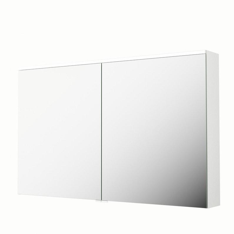 Armoire de toilette lumineuse l. 120 cm, blanc, SENSEA Neo