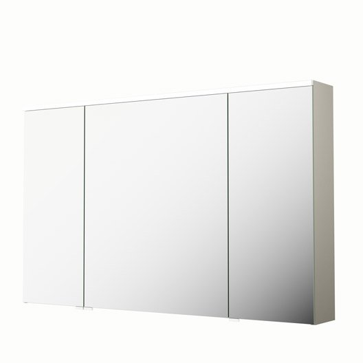 armoire de toilette lumineuse l 120 cm beige sensea neo leroy merlin. Black Bedroom Furniture Sets. Home Design Ideas