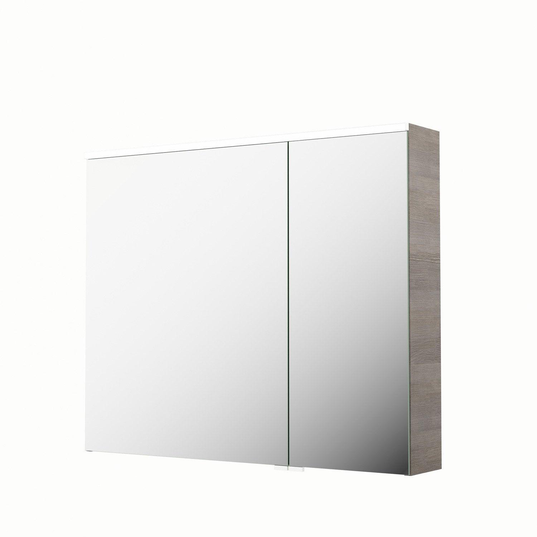 armoire de toilette lumineuse l 90 cm imitation ch ne gris sensea neo leroy merlin. Black Bedroom Furniture Sets. Home Design Ideas