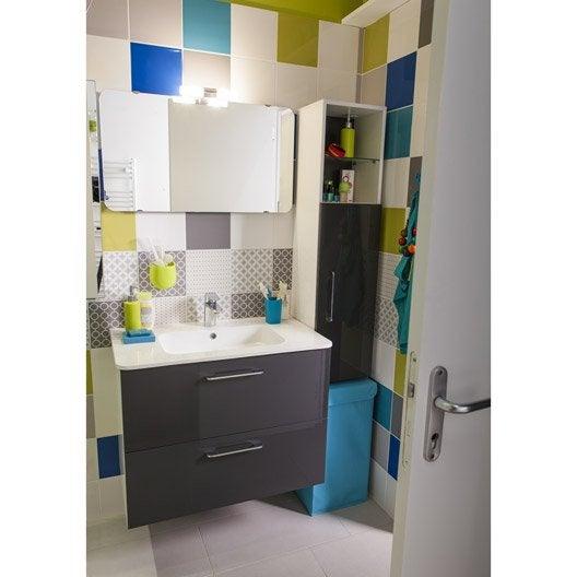 Meuble sous vasque x x cm gris happy for Salle de bain jaune et gris