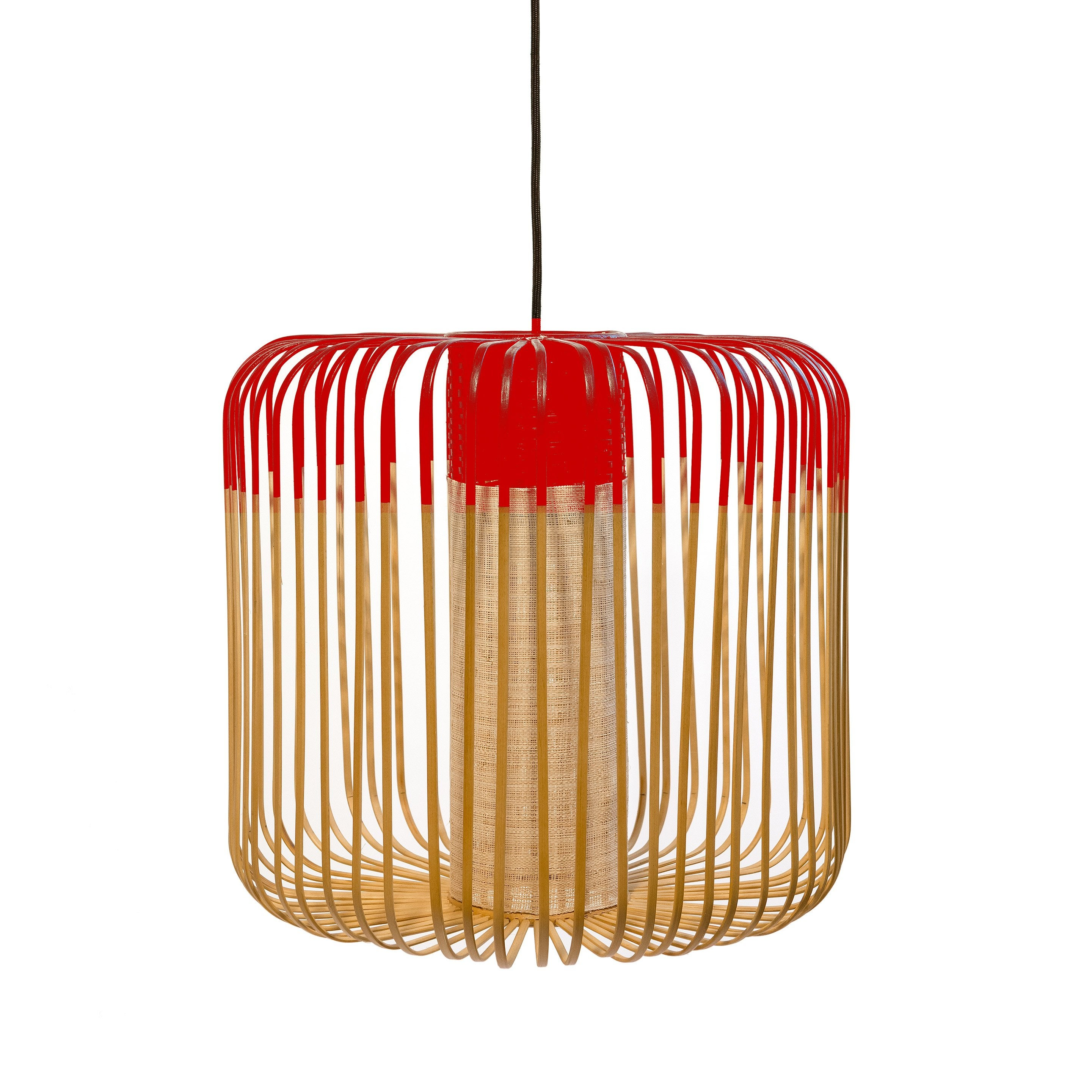suspension bambou rouge forestier bamboo m 1 lumières d