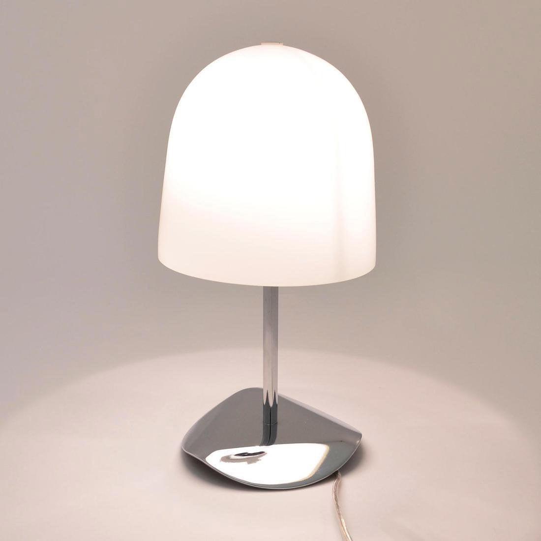 Lampe, design, verre blanc et chromé Shiny
