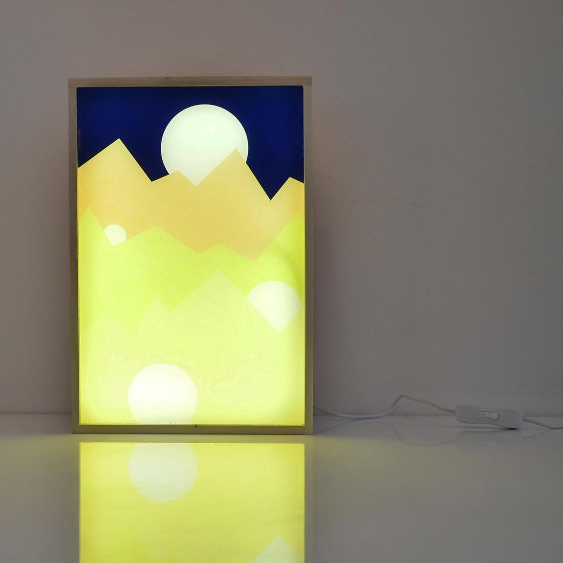 Boîte lumineuse, design, bois, DADA LIGHT Under the moonlight