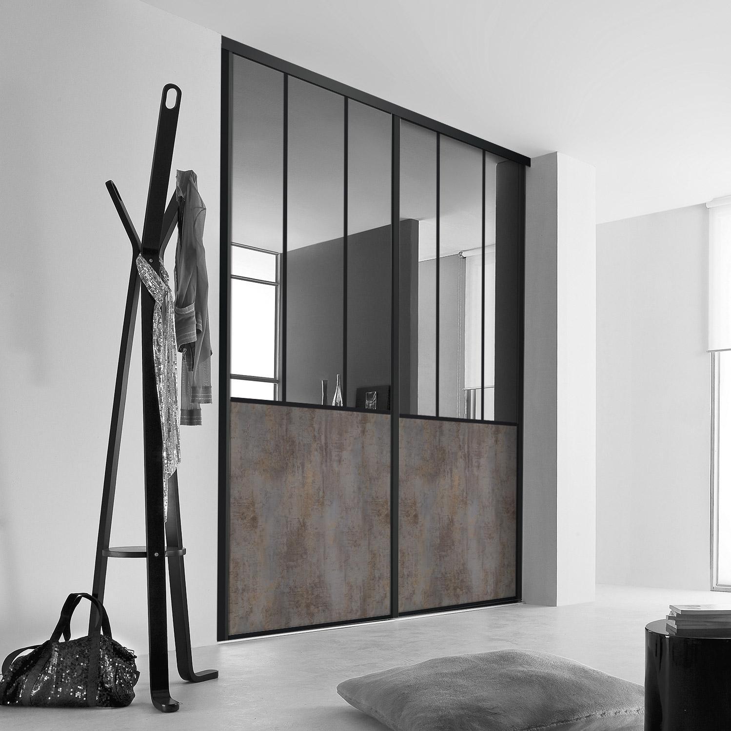 Ordinaire Porte De Placard Coulissante Sur Mesure KAZED Effet Atelier De 100.1 à 120  Cm