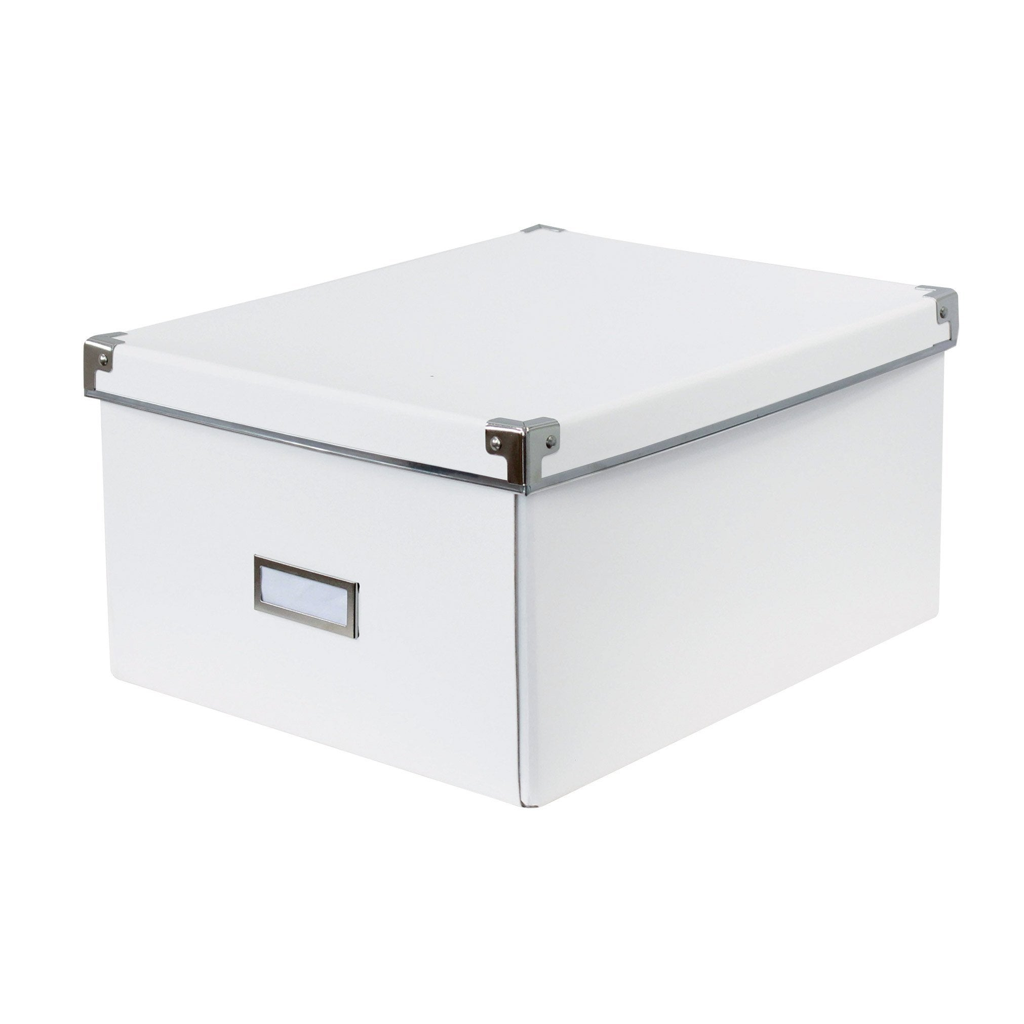 Boîte de rangement avec couvercle carton BOX & BEYOND blanc   Leroy Merlin