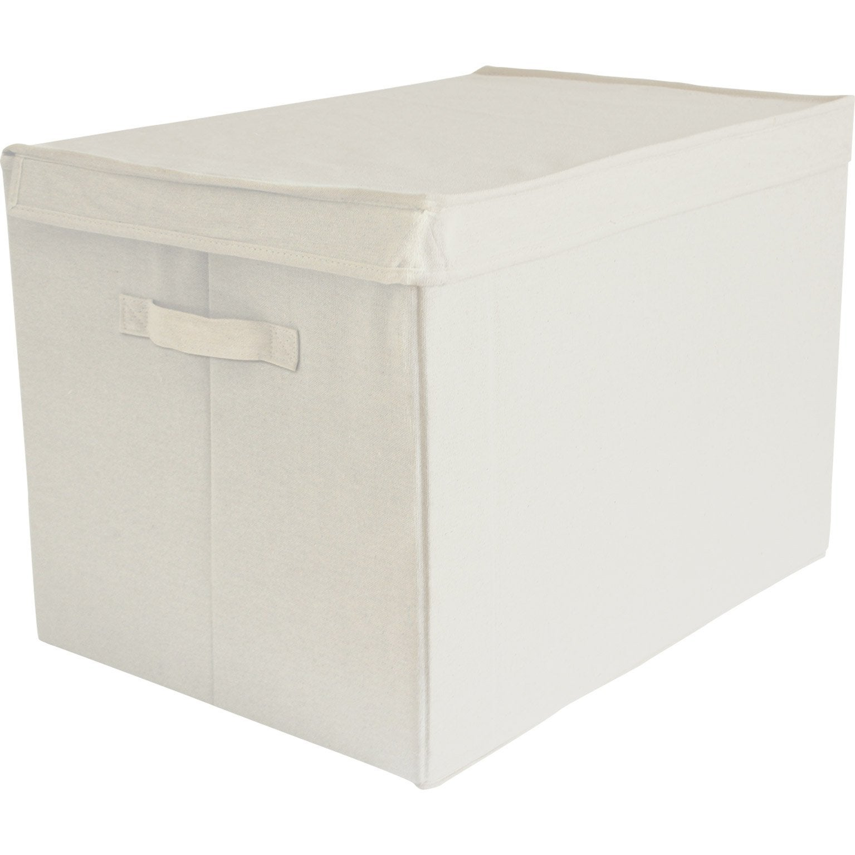Boîte de rangement avec couvercle tissu BOX & BEYOND L beige H.35 x l.50 x P.35 | Leroy Merlin